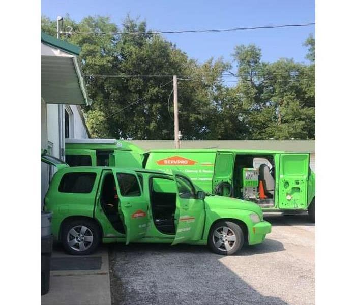 SERVPRO vehicles parked in our parking lot being prepared to be sent to a commercial loss
